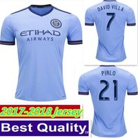 Wholesale Soccer Jerseys Pirlo - NewTop Thai quality Perfect 17 18 New York City Soccer Jersey 2017 2018 Home blue away LAMPARD DAVID VILLA LAMPARD PIRLO Football Shirt