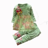 Wholesale Wholesale Retail Flower Dress - Wholesale- Retail 2015 Autumn Fashion children girl flower clothe sets Big Bow Infants Nice Dresses +pants suit ,0-3Y, free shipping!
