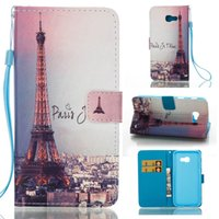 Wholesale Eiffel Tower Wallets - 10pcs Flip Wallet Case For Samsung A5 2017 A3 2017 3D Painted Eiffel Tower Leather cardslot cover for A320 A520 case 2017 Newest