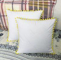 Wholesale Plain Dyed - 16x16 Plain dyed white cotton 8oz canvas yellow pom pom blank throw pillow case decorative pillow cover