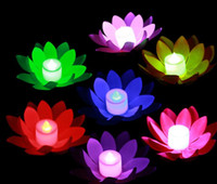 Wholesale Calla Wedding Candles - Artificial LED Floating Lotus Flower Candle Lamp With Colorful Changed Lights for Wedding Party Decorations Supplies 20pcs