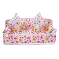 Wholesale Doll House Sofa - Chic Mini Dollhouse Furniture Flower Soft Sofa Couch With 2 Cushions For Doll House Accessories