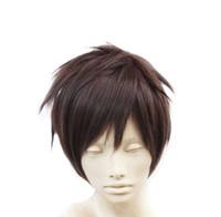 peluca de pelo para hombre al por mayor-100% Nueva Imagen de Moda de Alta Calidad pelucas llenas de encaje Hombres Cortos / Marrón Corto Recto Anime Moda Cosplay Fiesta Peluca llena de cabello