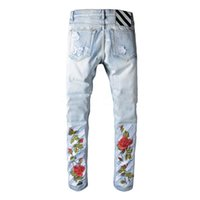 Wholesale Mens Gray Jean Pants - OFF WHITE Rose embroidery Denim pants Mens Fashion Jeans Hip Hop Jean Slim Fit Homme Pants Dnime Frayed Hole Edging Hombre off-white swag