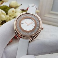 Wholesale Oval Watches For Women - Fashion luxury brand watch Women Crystal Analog Quartz watches For Ladies girls Leather Strap wristwatches Montre Homme Wtach Wholesale