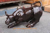 bronz öküz toptan satış-Büyük Bronz kahve Duvar Sokak Bull ÖKÜZ Figürü Heykeli 11