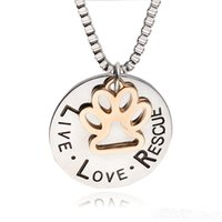 Wholesale Love Lovers Necklace - 2017 Sunshine Live Love Rescue letter Love Word dog lover necklace Cat Dog Paw Print Pendant Necklace Mothers Day new fashionzj