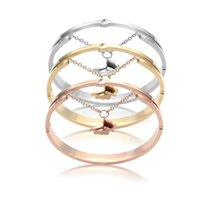 Wholesale White Gold Bangle Butterfly - Jewelry wholesale hollow chain hanging Butterfly Bracelet 18K rose gold bracelet and foreign trade