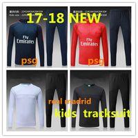 Wholesale New Kids Sportswear - kids TOP THAI QUALITY new 17-18 Real Madrid kids soccer chandal white football tracksuit 2017-2018 PSG training suit pants Sportswear