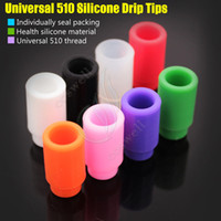 Wholesale Ego Disposable - Top 510 Colorful Silicone Drip Tips Disposable Rubber Universal thread Test dripper Individually pack RDA RBA ego atomizer tank Mouthpieces