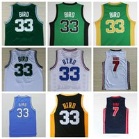 6d92c6d85 Basketball Men Sleeveless Cheap  33 Larry Bird Jerseys Green White Indiana  State Sycamores 7 Larry