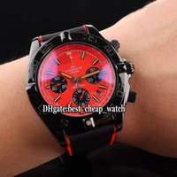 Wholesale Mens Watch Chronomat - Super Clone Luxury Brand Chronomat Cheap PVD Black MB0111C3 Red Dial Quartz Chronograph Mens Watch Rubber Strap High Quality Wristwatches