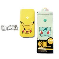Wholesale Bank Power Iphone Cute - Poke Mon Power Bank 4800mAh Cute 3D Cartoon Phone Charger External Battery For Iphone 7 6 6s Plus Samsung With Retail Package