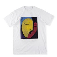 black white abstract art - US Size High Quality Sup Abstract Face Art T Shirts Men Women Cotton Logo red Tee Print High Street Skateboards Classic T shirt