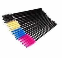 ingrosso spazzole di rosa gialla-50 pz / pacco 50 pz One-Off Monouso Ciglia Ciglia Pennelli Mascara Applicatore Bacchetta Pennello nero giallo blu rosa rosa rosso
