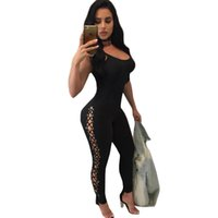 Wholesale womens winter overalls - Wholesale- 2017 Sexy Lace Up Rompers Womens Jumpsuit Winter Straps Backless Long Pants Rivet Hollow Out Bodycon Jumpsuits Stretch Overalls
