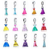 Wholesale Dangling Accessories - Princess Enamel Dress Pendant Silver Plated Girl's Skirt Cinderella Alloy Charm Beads Dangle European Jewelry Accessories