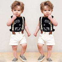 Wholesale Little Boys Suspenders - Little boys sets fashion kids letter printed vest+suspender shorts 2pc clothing sets European american style children summer clothes T3720