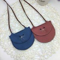 Wholesale Cute Little Red Wallet - Children's children new pearl leather cute little kitten bag purse bag children's wallet mini shoulder bag