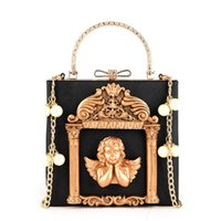 Wholesale Metal Handbag Frames - Metal Beading Women Tote Bag Baroque Angel Mini Handbags Luxury PU Leather Shoulder Bags Vintage Chains Messenger Bag Sac A Main