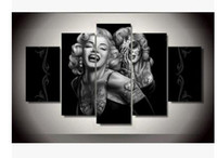 Wholesale framed wall decor sets - Sexy Marilyn Monroe Figure Painting No Frame 5 PCS Canvas Art Oil Painting for Bed Room Modern Sets Exquisite Wall Decor