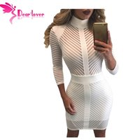 Wholesale Black White Striped Mini Dress - Autumn 2017 Office Ladies Bodycon dress Sexy Black White Sight to See Striped Zip Dress Vestidos Branco Curto LC22860 17410