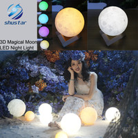 Wholesale Desk Lamp Usb - 3D Magical Moon LED Night Light Moonlight Desk Lamp USB Rechargeable 3 Light Colors Stepless for Home Decoration Christmas