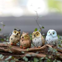 Wholesale Antique Action Figures - 4 style micro mini fairy garden miniatures figurines Owl birds animal Action Figure Toys ornament terrarium accessories movie props