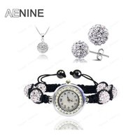 Wholesale Disco Pave Watch - AENINE Watch Sets Necklace+Bracelet+Earrings Crystal Jewelry Watch Sets 10mm Micro Pave Disco Beads Crystal Jewelry Sets SHSE11