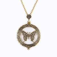 Wholesale Magnifying Glass Chain - 2017 new gold plated Vintage boho magnifying glass butterfly long chain pendant Necklace for Women Statement Jewelry wholesale Free shipping