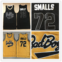 Wholesale Bad Sport - Movie 72 Bad Boy Basketball Jerseys Notorious Big Black 72 Biggie Smalls Jersey Men For Sport Fans Embroidery Yellow Team Color High Quality