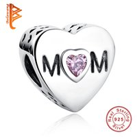 Wholesale Sterling Silver Letters - BELAWANG 925 Sterling Silver Pink Cubic Zircon Openwork Mom Charm Beads Fit Pandora Charm Bracelet Fashion Jewelry Wholesale Accessory