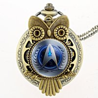 Wholesale-Antique Bronze 11 Style Star Trek Montre de poche en quartz avec collier Steampunk Hommes Femmes Fob Gift