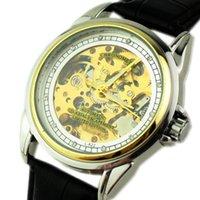 Wholesale Jaragar Water Resistant - Top Men's Leather Watches Gold Mechanics Diving Men's Date Automatic Watch Luxury Sports jaragar