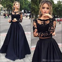 Wholesale Cheap Spring Black Wear - Hot Sale Black Cheap Two Pieces Formal Prom Dresses 2017 Sheer Long Sleeves Lace Top Satin A line Floor Length Evening Event Wears