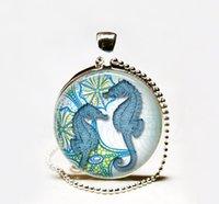 Wholesale Glass Seahorse Pendant - Wholesale Seahorse pendant Glass cabochon Necklace,Seahorse necklace,Seahorse jewelry