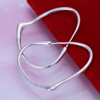 Wholesale Silver Earings Circle - Big Cobwebbing Heart Circles Hoop earings 925 Pure silver Prata Princo e028 gift box Free Fashion New Jewelry