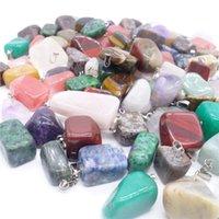 Wholesale Natural Mix Gemstone Pendants - Natural Stone Pendant Necklaces Men Women Turquoise Gemstone Agate Quartz Crystal Pendants With Chain Mixed Colors Best Selling