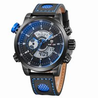 Wholesale Military Leather Watch Bands - 2017 Fashion Causal Brand WEIDE Quartz Digital Watch Men Black Blue Watches Alarm Relogio Leather Band Military Wristwatches Reloj Masculino