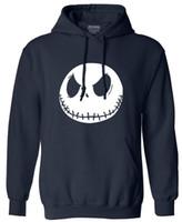 Wholesale mens christmas hoodie - Wholesale- New autumn Mens sweatshirt men fashion Nightmare Before Christmas Jack Skellington Male Charcoal long Sleeve hoodies tracksuit