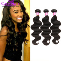 Wholesale Remy Hair Wholesale India - Brazilian hair body wave human virgin hair extension weft remy human India hair unprocessed soft Malaysian body wave free shipping Color 1B