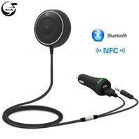 Wholesale Nfc Bluetooth Receiver - NFC Car Kit Bluetooth Aux 3.5mm 12V Dual USB Charger Handsfree Wireless Talking Audio Music Receiver Speakerphone Microphone