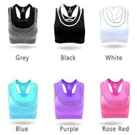 Wholesale Racerback Sports Top - Women Sports Yoga Bras Seamless Racerback Bra Gym Fitness Tank Top Vest For Women Elastic Breathable Padded Bra Underwear
