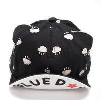 Wholesale Kids Boy Cute Cool - 9 Colors Cute Cool Fashion Baby Boy Girl Cotton Knit rabbit Cat Cloud Hats Caps 46-50 Cm Adjustable Snapback for 1-18 Months Kids free ship