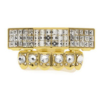 Wholesale Real Silver Jewelry Set - Real Silver Gold Plated Iced Out Square Cz Rhinestone Hip Hop Teeth For Mouth Grillz Caps Top & Bottom Grill Set Vampire Jewelry