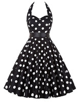 Wholesale polka dot swing - Polka Dot Rockabilly Dress Brand New 2017 Strapless Vestido 1950s 60s Robe Vintage Retro Pin Up Big Swing Womens Summer Dresses