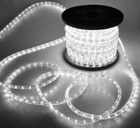 Wholesale Dip Bar Led - 50m DC12v DIP 2 wires round rope light flexible led light string spool 36leds m 10mm PVC tube neon light Christmas garden lights