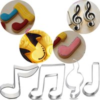 Wholesale Metal Pastry Biscuit Cake Cookie - 4pcs music Note cookie cutter biscuit maker fondant cake decorating tools pastry bakeware cupcake toppers