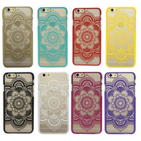 Wholesale Clear Flower Iphone Case - For iphone 6s plus Luxury Pattern Floral Flower Lace Transparent Clear Hard Case Cover For iphone 5s 6s 6 plus