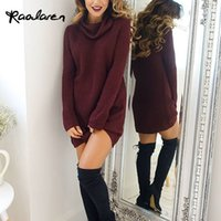 Wholesale Long Woolen Dresses - Raodaren Women Woolen Dress Fashion Autumn and Winter Dresses Casual 2017 Sexy Ladies High Necked Long Sleeve Knitting Mini Dresses